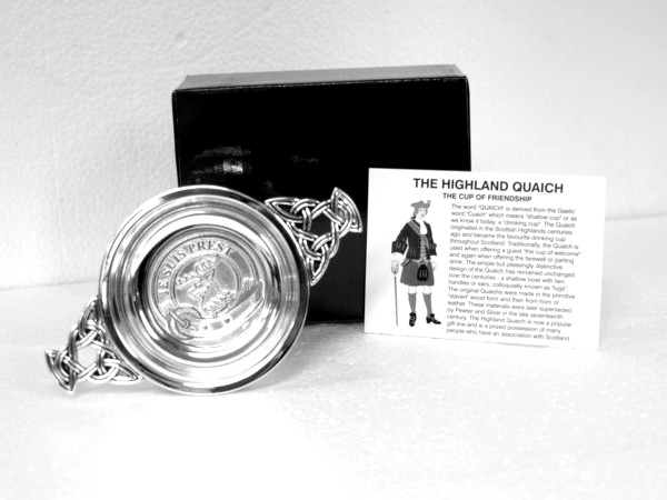 Outlander Inspired Clan Fraser Silver Plated Quaich 9685